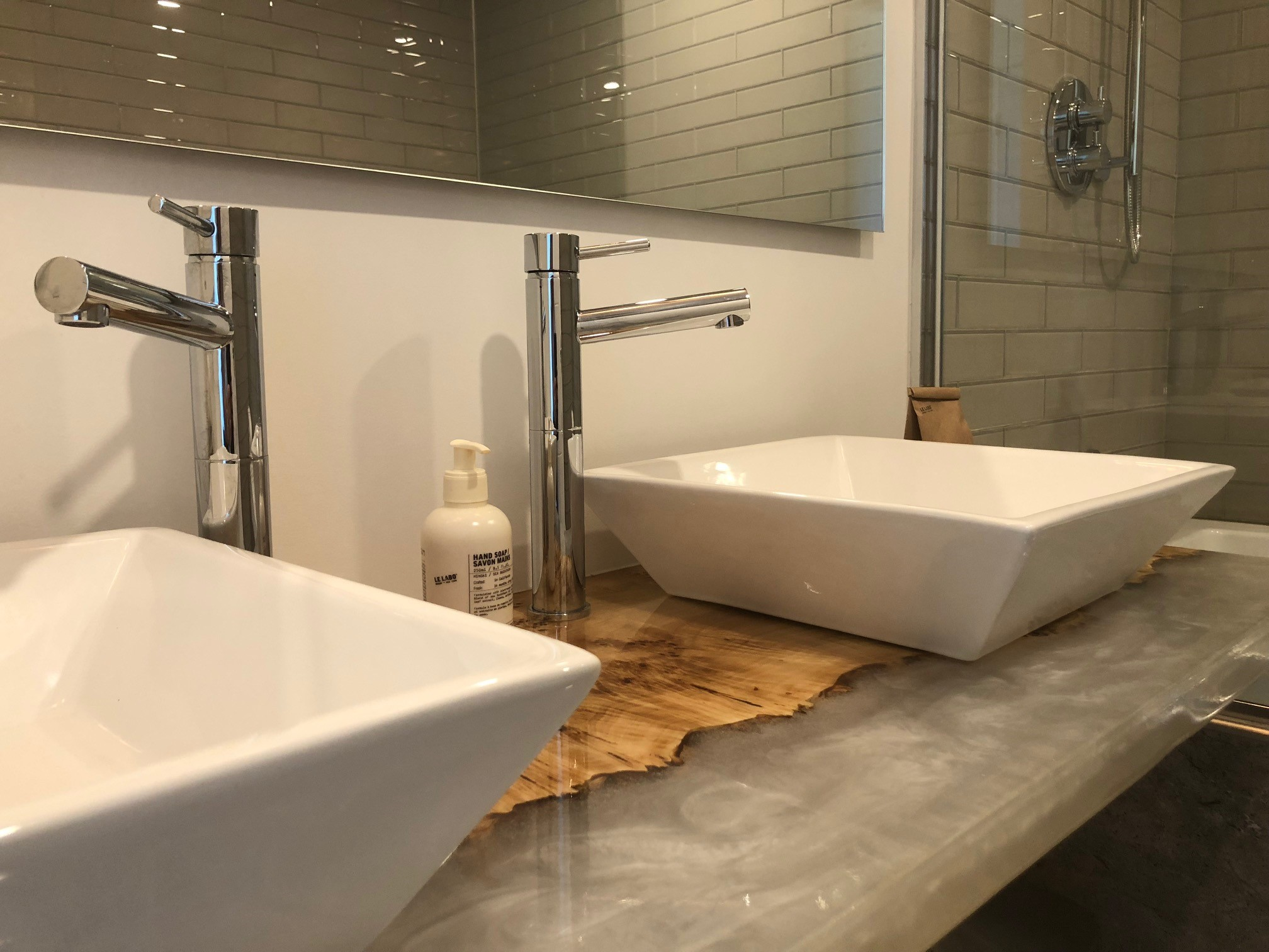 Fife bathroom two custom vanities